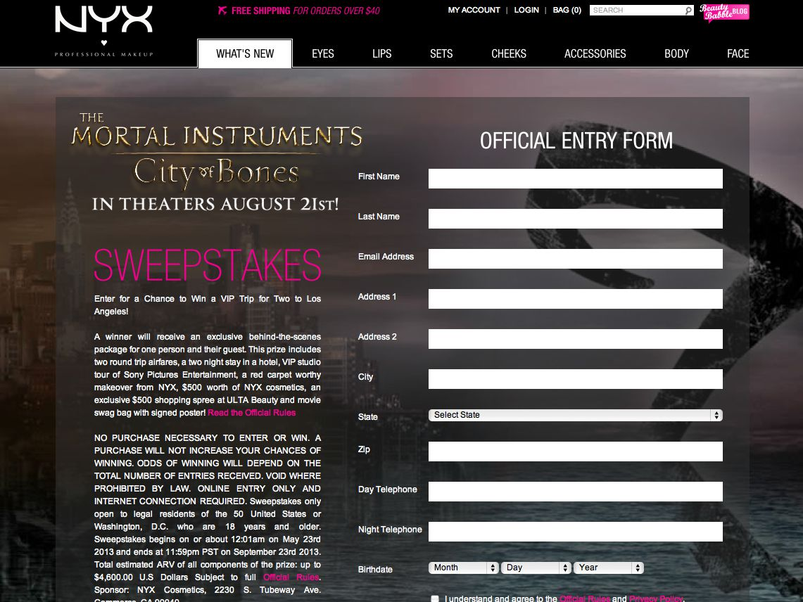 The Mortal Instruments and NYX Cosmetics Sweepstakes
