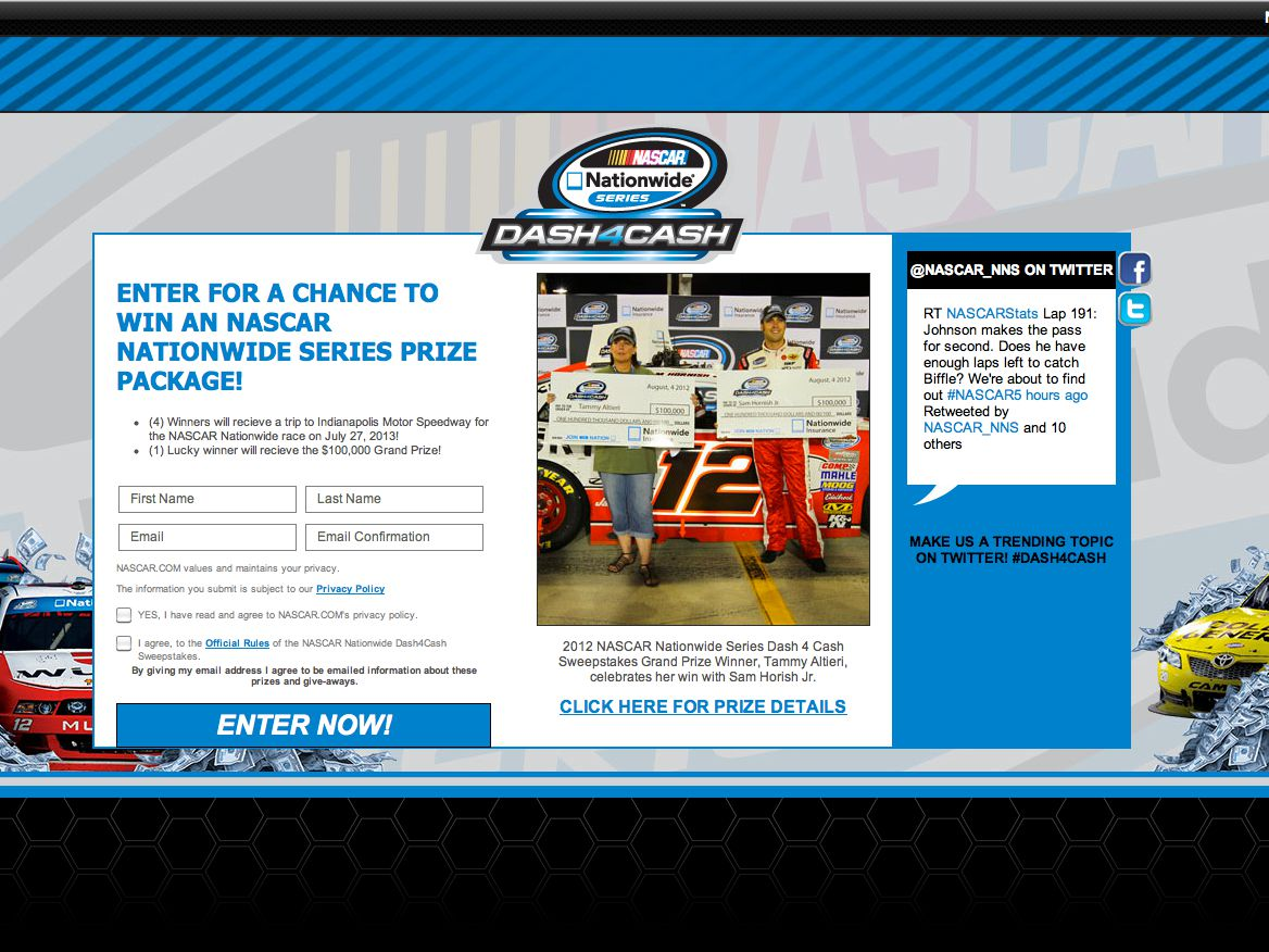 NASCAR Nationwide Series™ $100,000 Sweepstakes