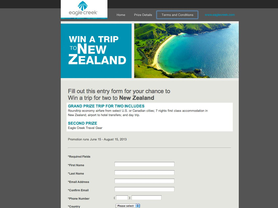 Eagle Creek Win a Trip to New Zealand Sweepstakes