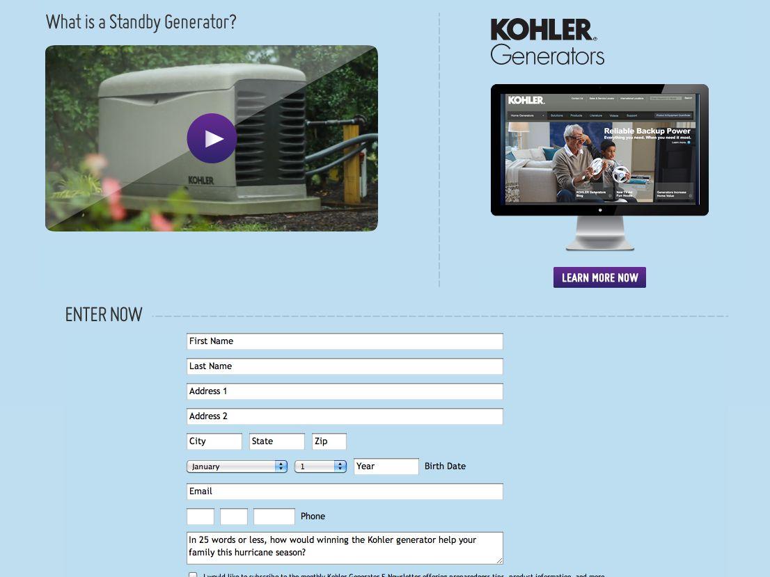 Kohler 2013 Great Hurricane Blowout Generator Sweepstakes