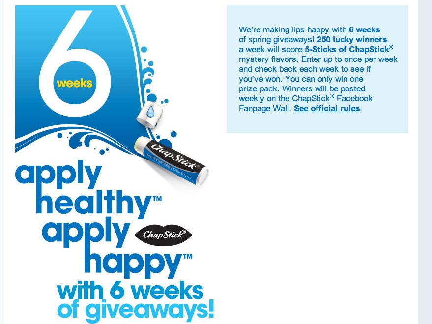 ChapStick® Mystery Sampling Sweepstakes