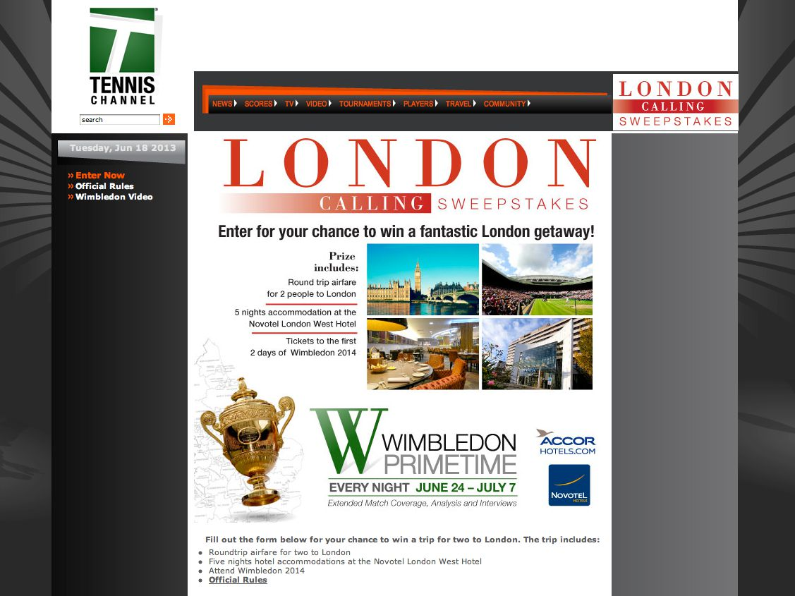 2013 London Calling Sweepstakes