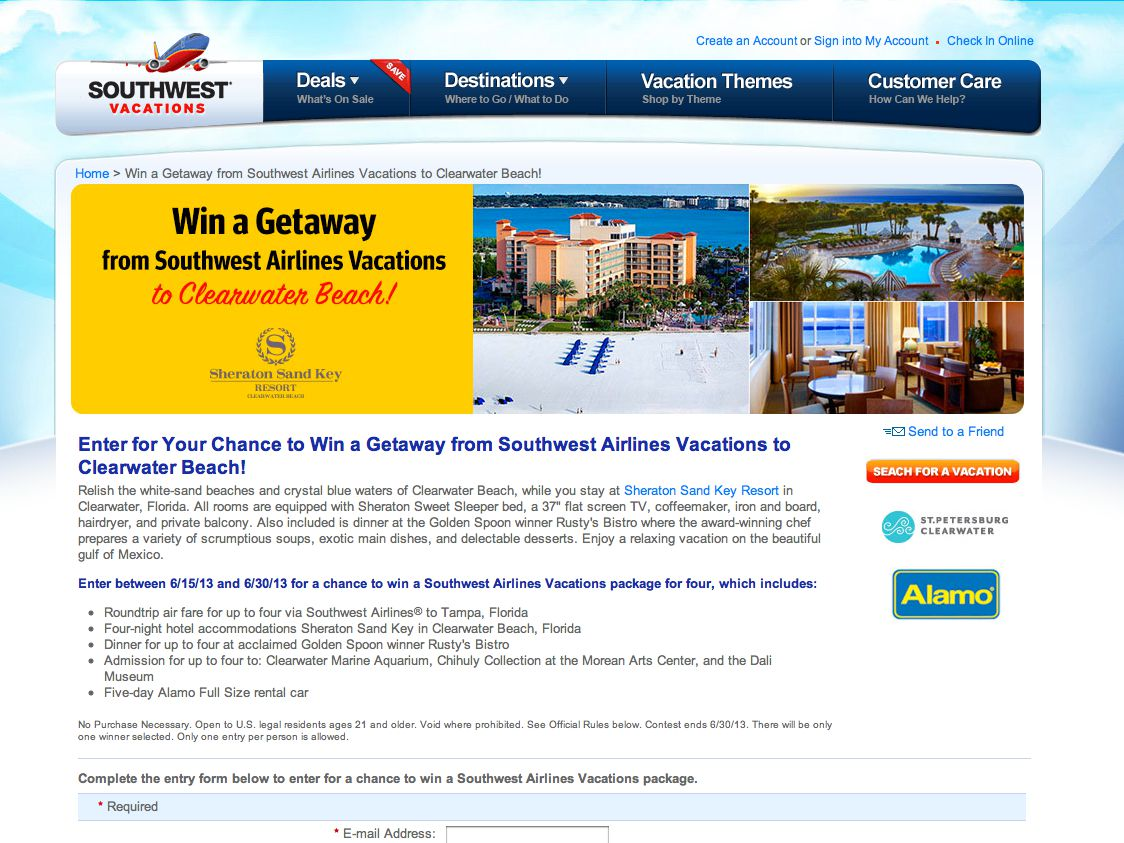 Win a Getaway from Southwest Airlines Vacations to Clearwater Beach