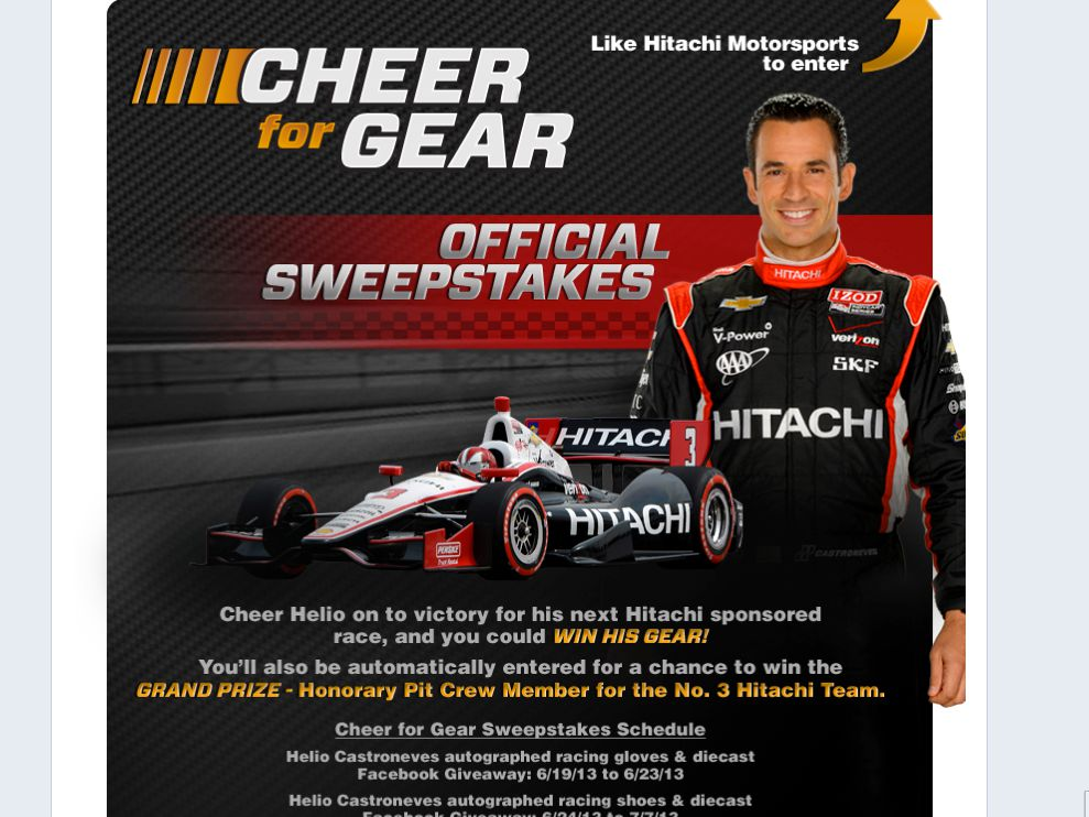 "Hitachi ""Cheer For Gear"" Sweepstakes"