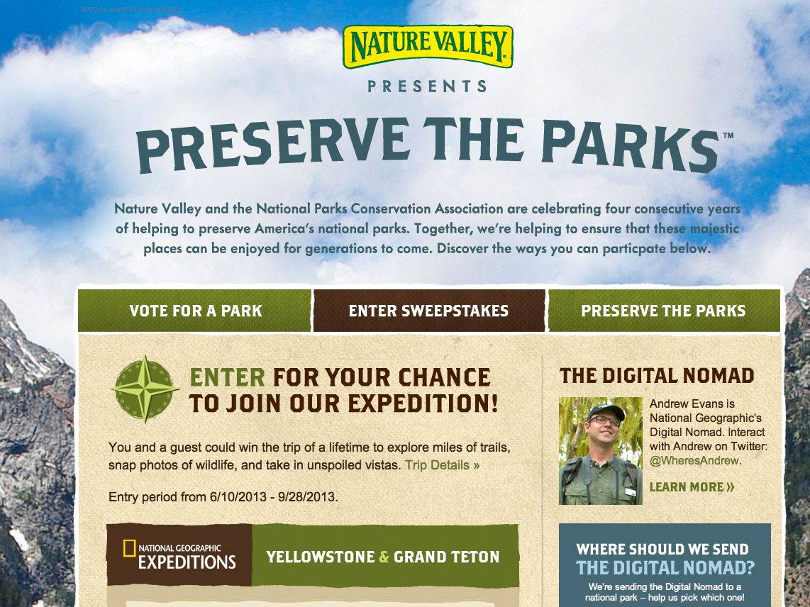 National Geographic Preserve the Parks Sweepstakes