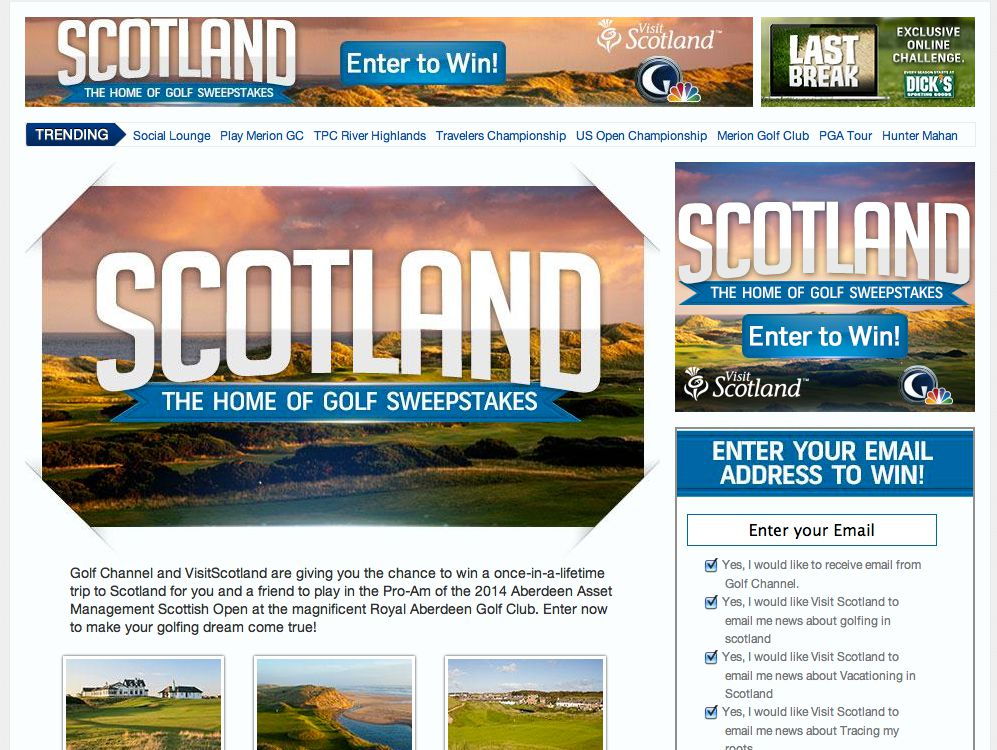 Golf Channel's Scotland the Home of Golf Sweepstakes