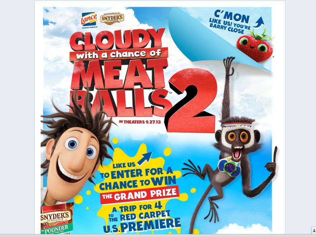 Snyder's-Lance Cloudy with a Chance of Meatballs 2 Sweepstakes