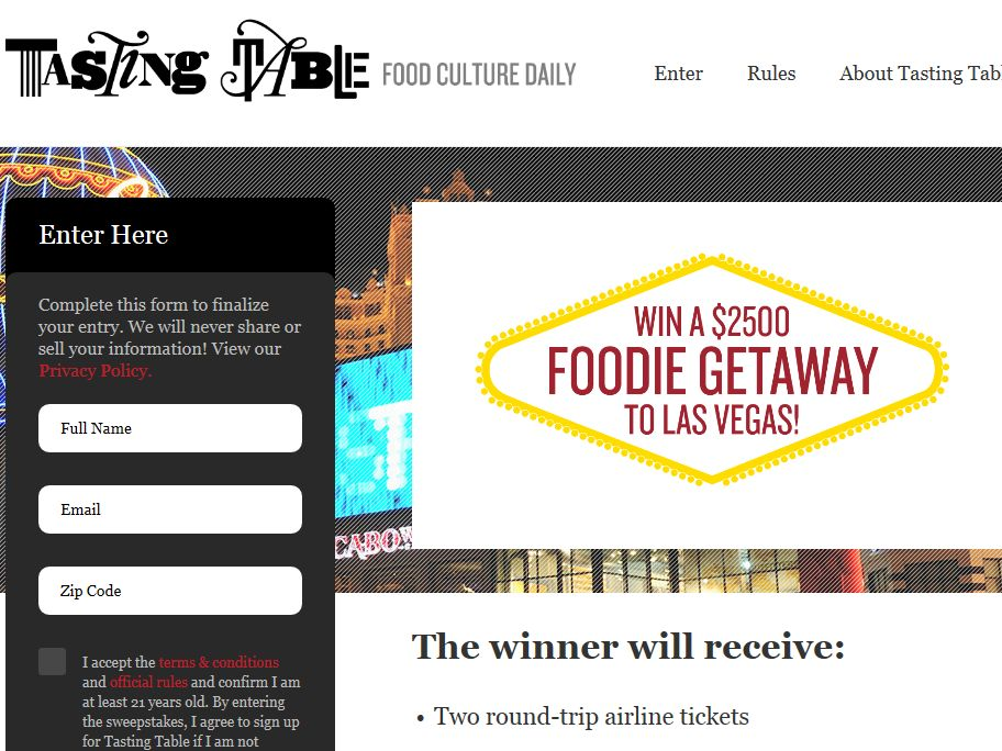 Tasting Table Las Vegas Foodie Getaway 2013 Sweepstakes