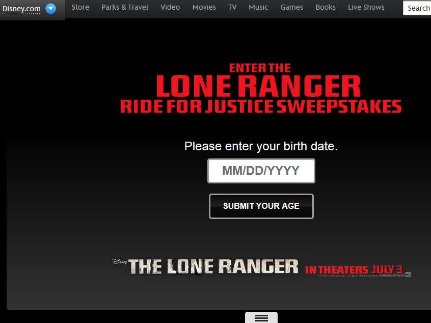 The Lone Ranger Ride for Justice Sweepstakes
