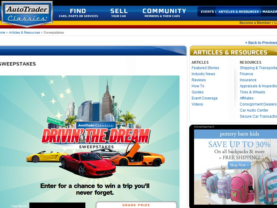 AutoTrader Classics Drivin' the Dream Sweepstakes