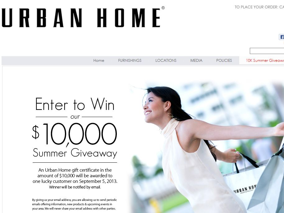 Urban Home Summer Giveaway Sweepstakes