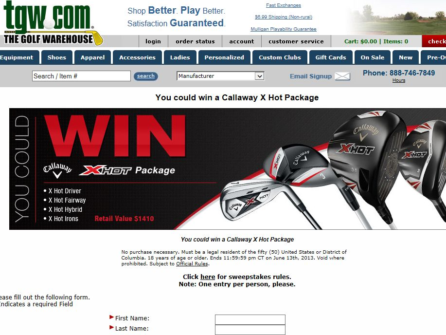 Callaway X Hot Package Sweepstakes