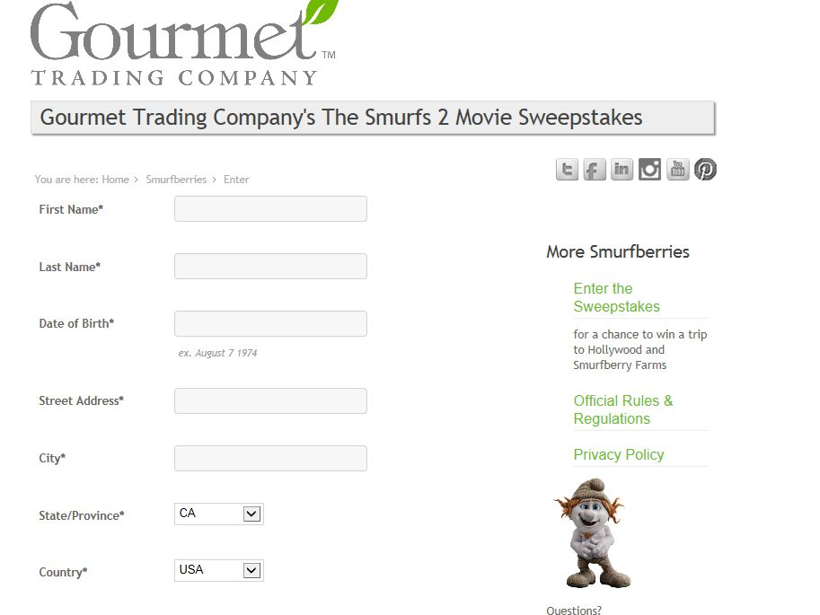 Gourmet Trading Company's The Smurfs 2 Movie Sweepstakes
