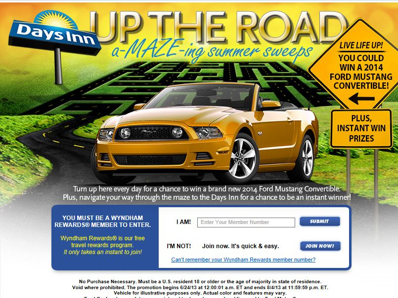 Days Inn UP THE ROAD Instant-Win Game & Sweepstakes