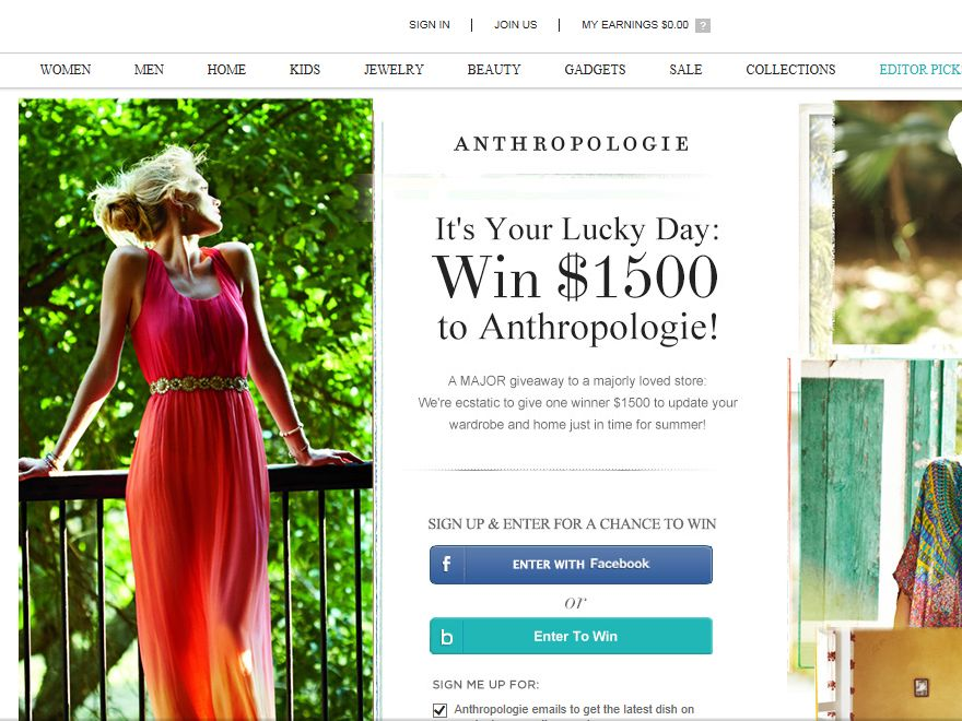 Anthropologie Sweepstakes