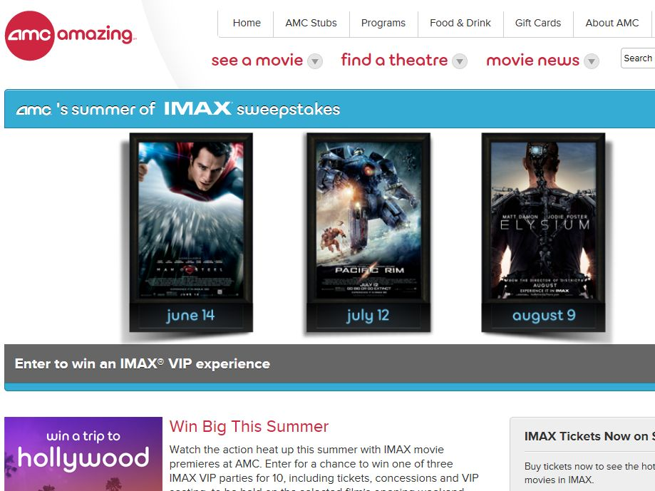 """AMC Theatres """"Summer of IMAX"""" Sweepstakes"""