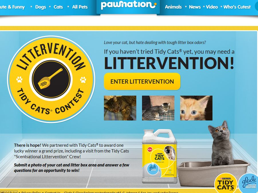 Purina Tidy Cats with Glade Tough Odor Solutions Littervention Contest 2013