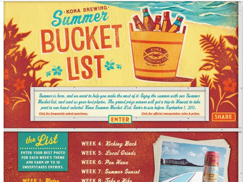 Kona Brewing Company Summer Bucket List Sweepstakes
