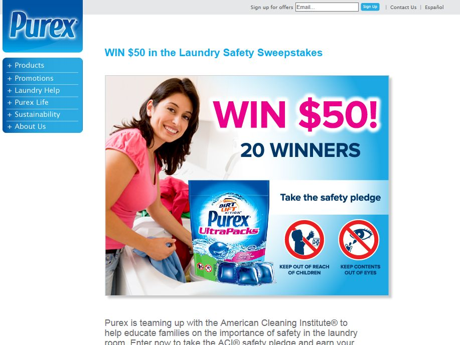 Win $50 in the Laundry Safety Sweepstakes