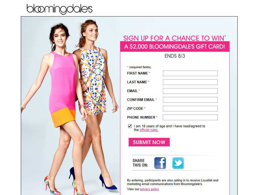 Bloomingdale's Shopping Spree Sweepstakes