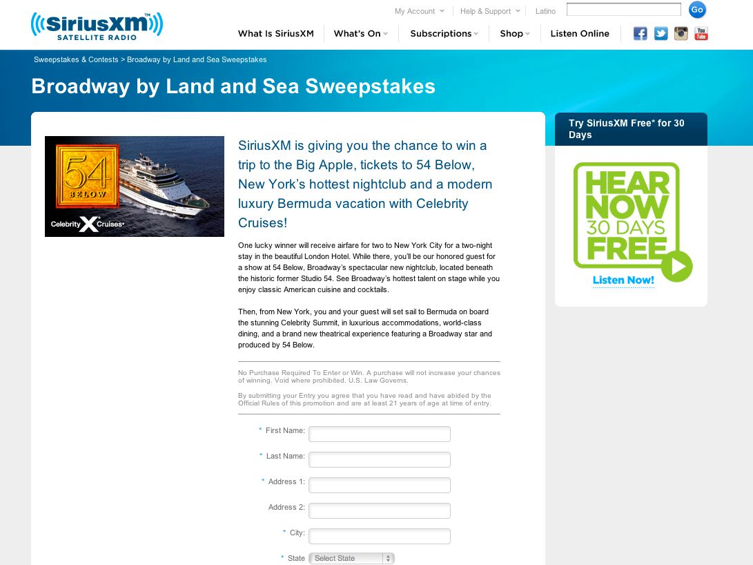 Broadway by Land and Sea With Celebrity Cruises and 54 Below Sweepstakes