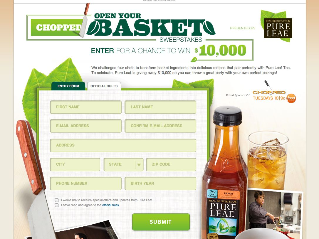 Chopped: Open Your Basket Sweeps by Pure Leaf® Sweepstakes
