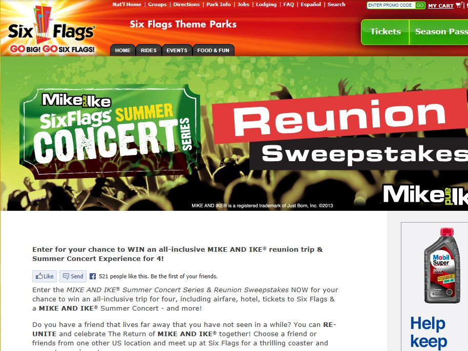 MIKE AND IKE Summer Concert Series Reunion Sweepstakes