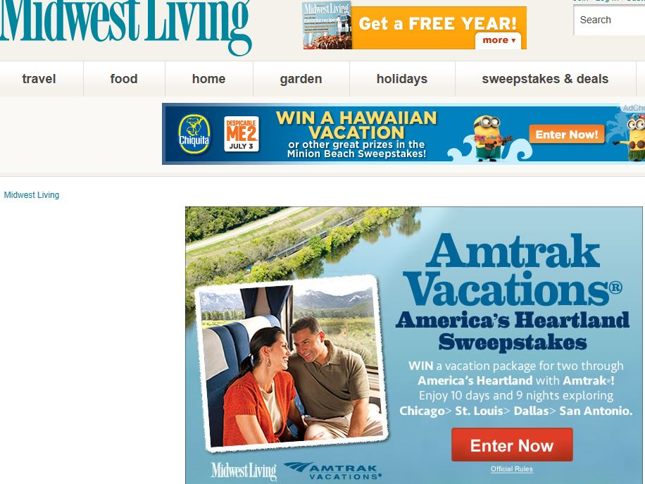 Midwest Living Amtrak Vacations America's Heartland Sweepstakes
