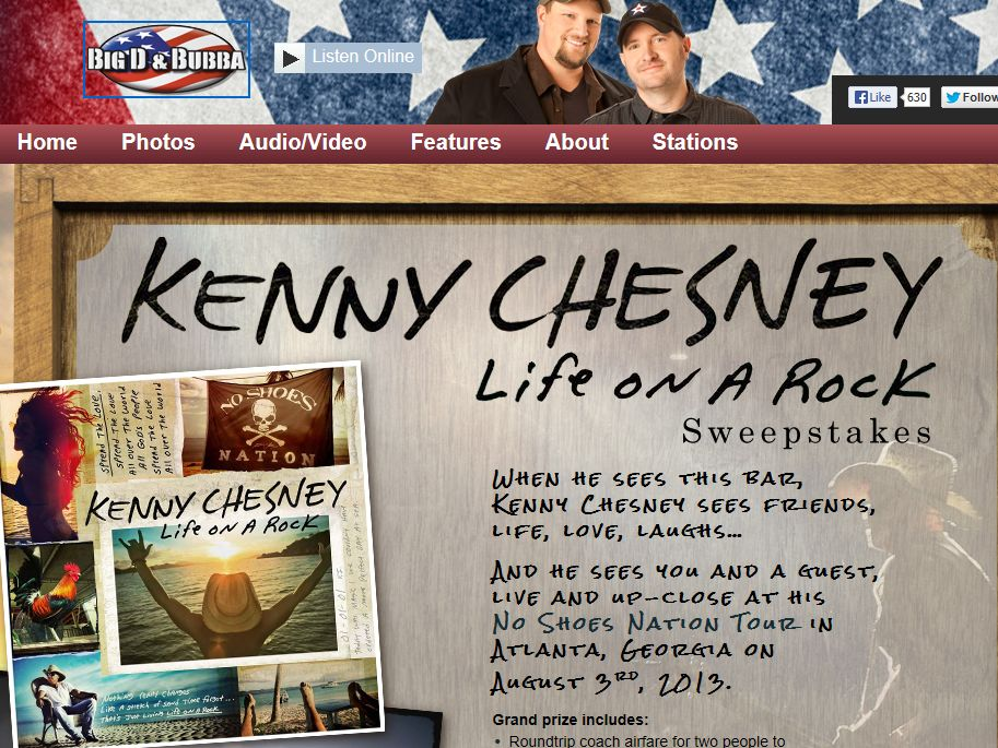 Kenny Chesney Life On A Rock Sweepstakes
