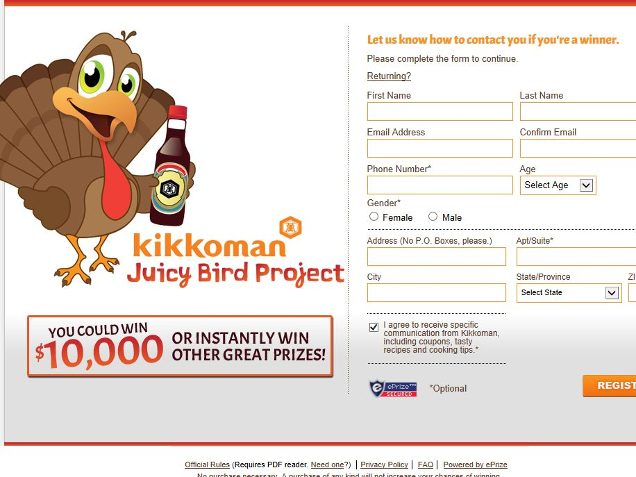 Kikkoman Juicy Bird Sweepstakes