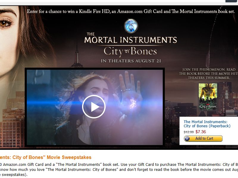 "Amazon.com ""The Mortal Instruments: City of Bones"" Movie Sweepstakes"