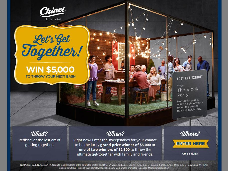Chinet Let's Get Together Sweepstakes