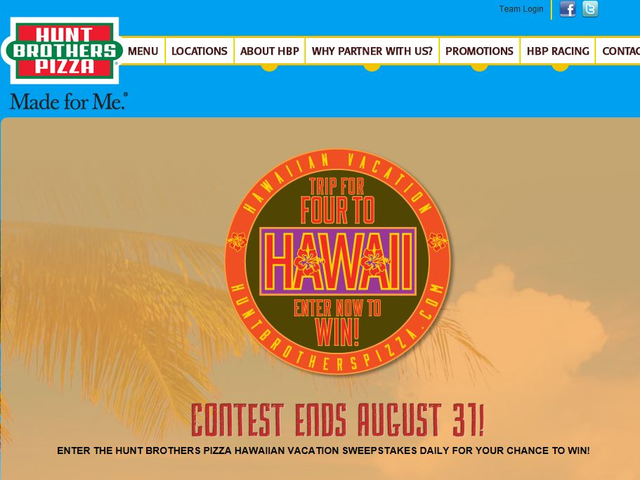 Hunt Brother's Pizza Hawaii Vacation Sweepstakes