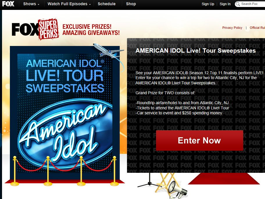 AMERICAN IDOL Live! Tour Sweepstakes