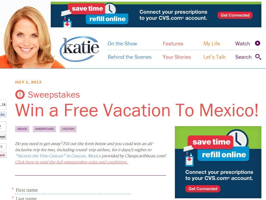Katie Couric's Win A Free Vacation To Mexico! Sweepstakes