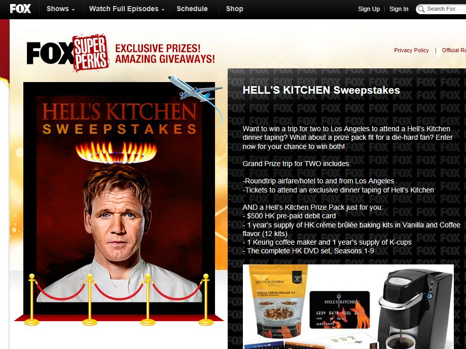 Hell's Kitchen Super Perks Sweepstakes