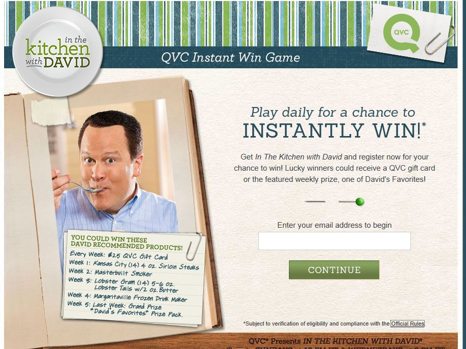 In The Kitchen With David Instant Win Game