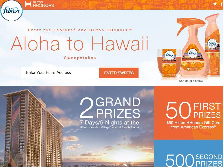 Febreze and Hilton HHonors Aloha to Hawaii Sweepstakes