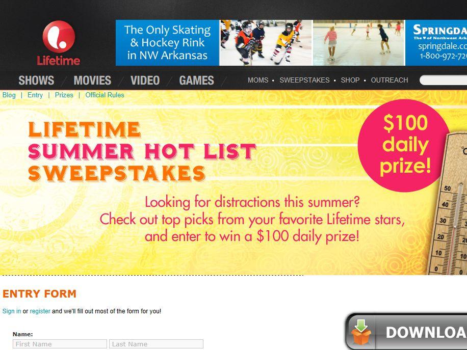 Lifetime Summer Hot List Sweepstakes