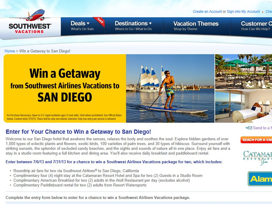 Southwest Airlines Win a Getaway to San Diego Sweepstakes