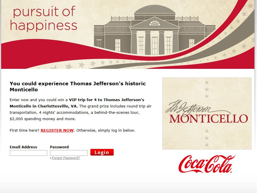 Monticello Family Vacation Sweepstakes