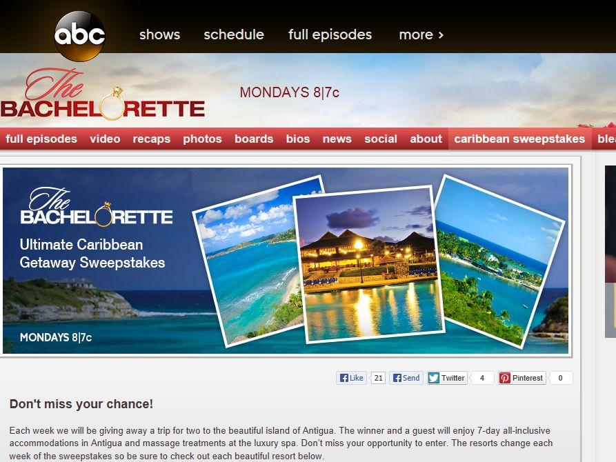 The Bachelorette Ultimate Caribbean Getaway Sweepstakes