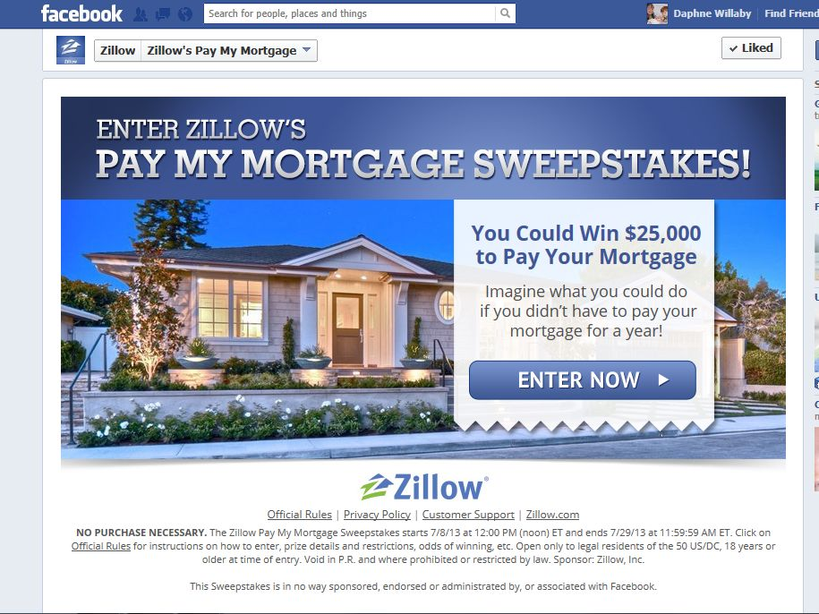 Zillow Pay My Mortgage Sweepstakes
