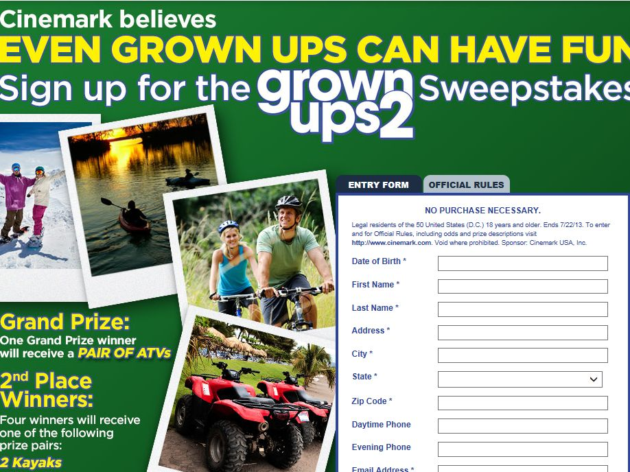 Cinemark Grown Ups 2 Sweepstakes