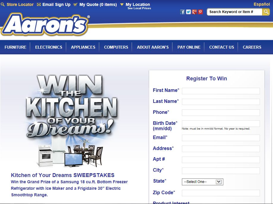 """Aaron's """"Win the Kitchen of Your Dreams"""" Sweepstakes"""