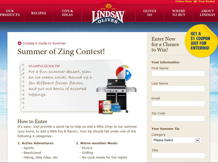 """Lindsay Olives """"Summer of Zing Quick Tips"""" Contest"""