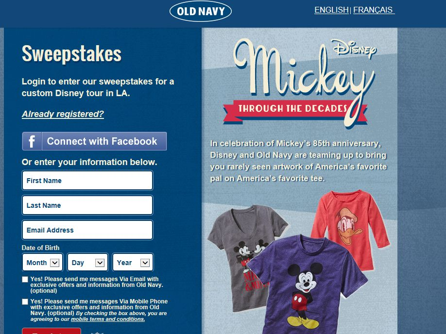Old Navy Magical Tour Sweepstakes