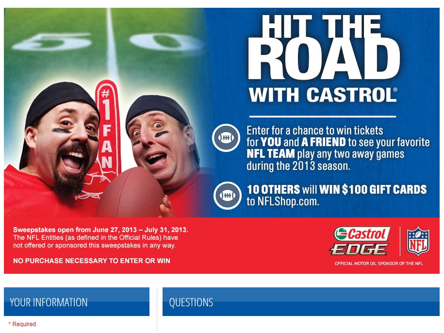 "Castrol 2013 NFL ""Ultimate Road Warrior"" Sweepstakes"