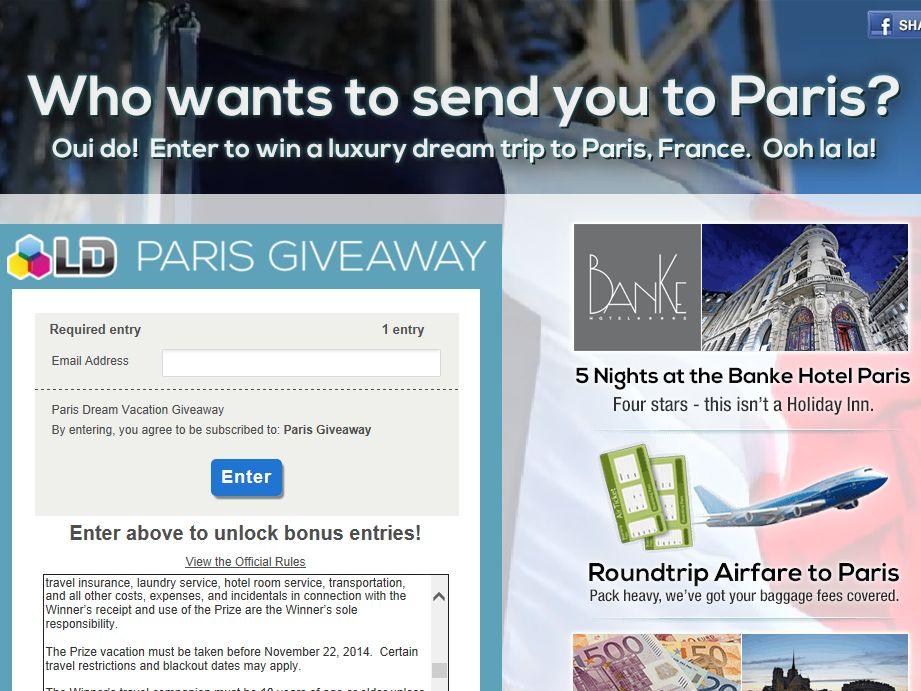 2013 Paris Vacation Sweepstakes