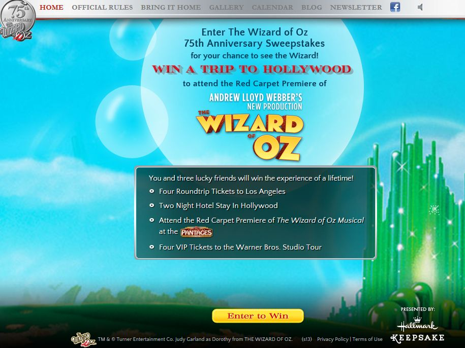 The Wizard of Oz 75th Anniversary Sweepstakes